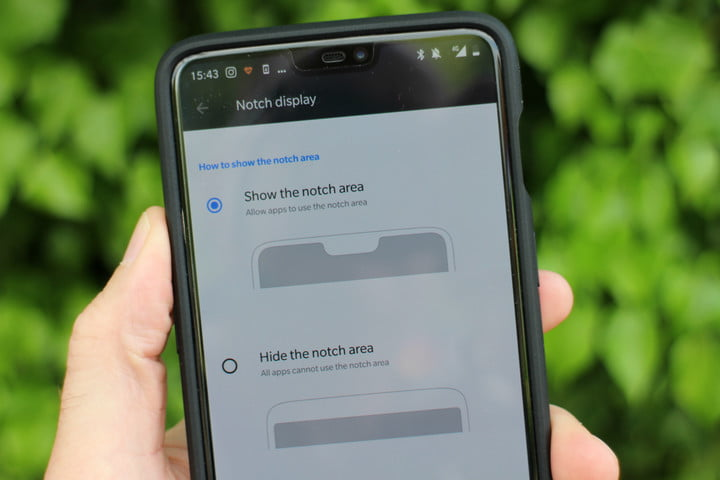 how to hide the notch oneplus 6 settings