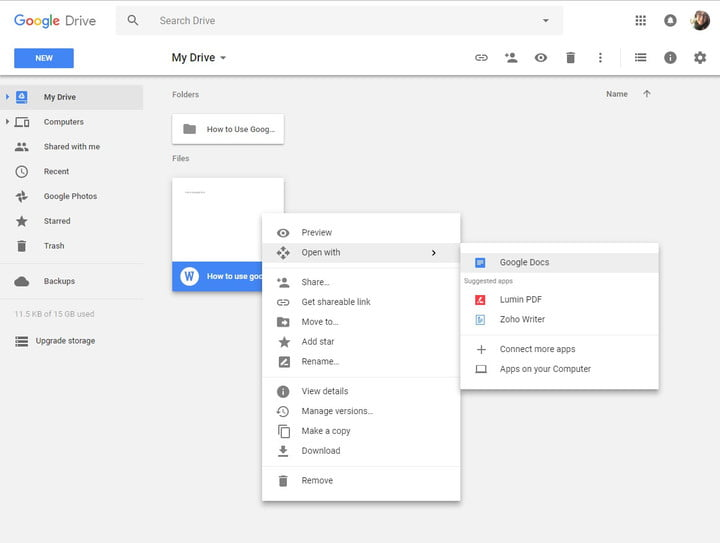 how to use google drive open with docs