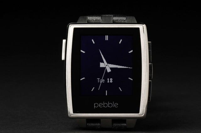 Pebble Steel Watch front screen clock