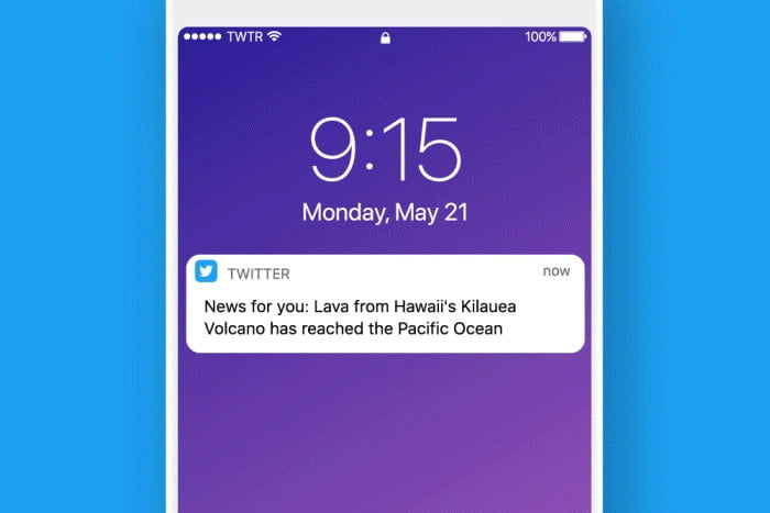 twitter happening now personalized news pushnotif
