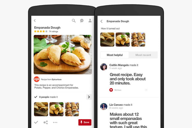 pinterest adds food search features reviews
