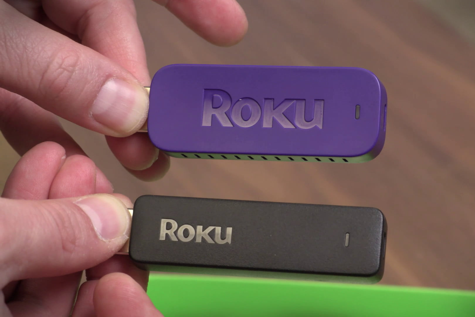 Photo of the Roku 4 streaming media player and a screen shot of its home  screen
