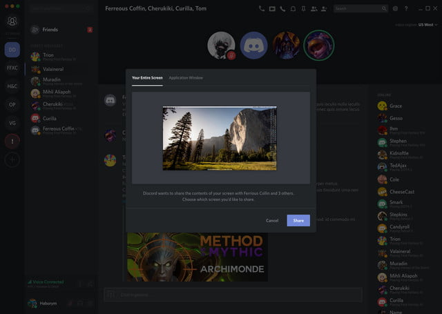 Discord screenshare function demonstrated