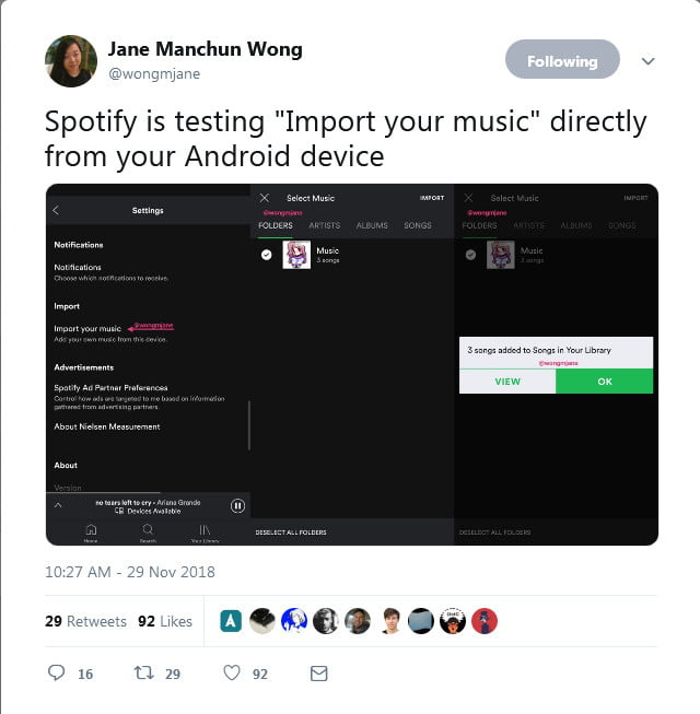 You may soon be able to import your own songs to Spotify's Android app