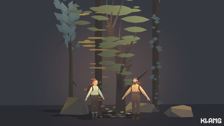 Seed Concept Art featuring male and female characters and different trees