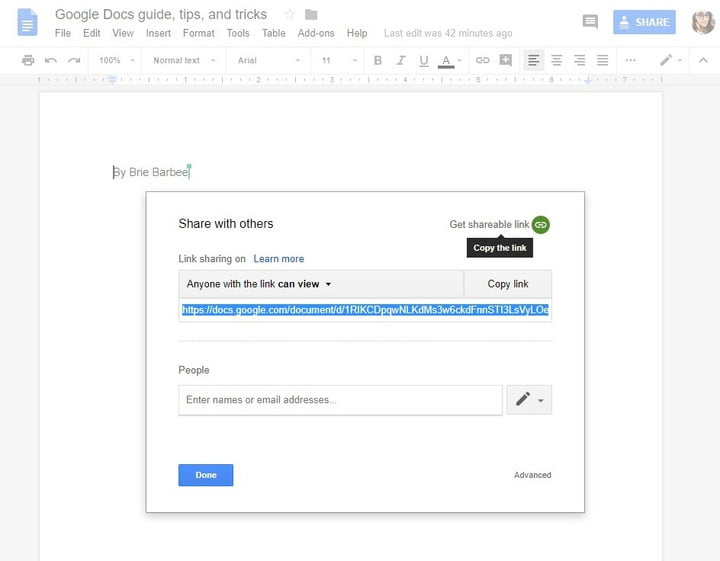 how to use google docs share with others