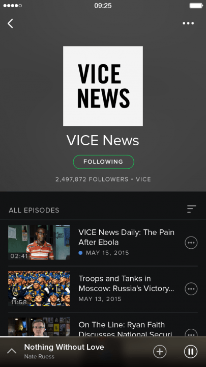 spotify adds video podcasts and running music features shows screenshot 2