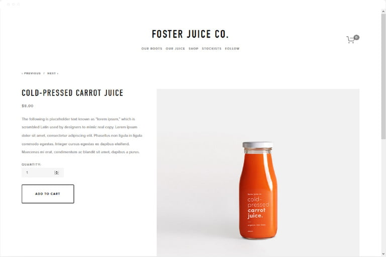 screenshot of Squarespace's Foster template demo