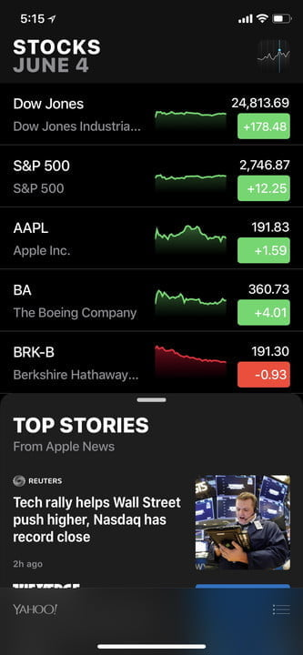 ios 12 apps stocks x