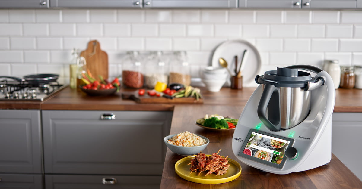 The new Thermomix TM6 may be tiny but it can do it all. It has a built-in 6.8-inch touchscreen to access a 40,000-recipe cook book powered by a quad-core processor