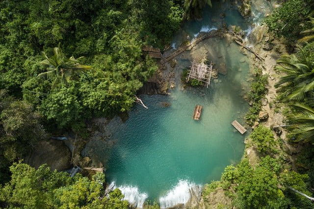 best drone photos tropical waterfall
