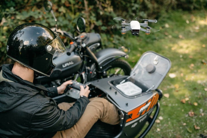 worlds first drone equipped motorcycle has a space for the spark ural air