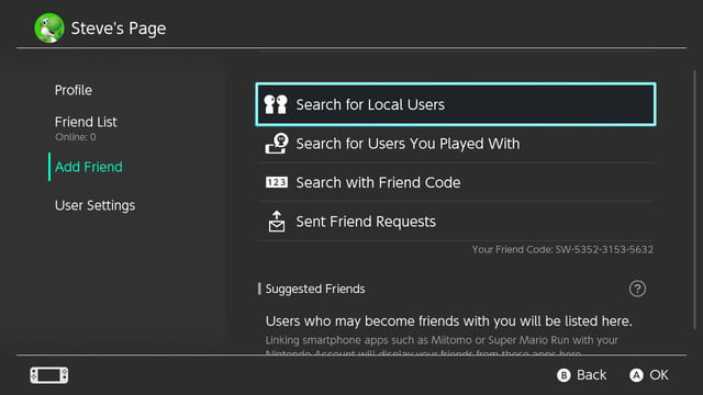 how to connect with friends nintendo switch user page
