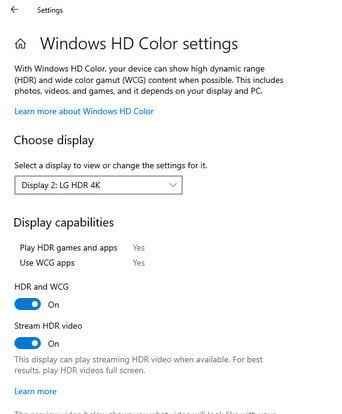 Windows HD color settings